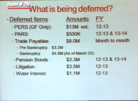 Debt deferral shown San Bernardino city council last month
