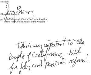 Gov. Brown's postscript on letter to Labor secretary