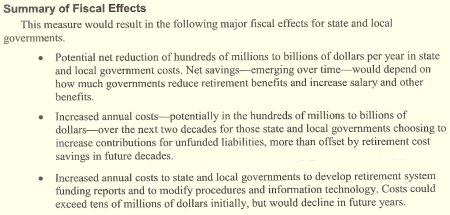 LAO summary of pension initiative fiscal effects