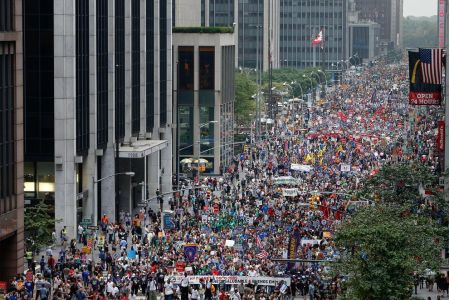 March through Manhattan at UN climate summit (AP photo Jason DeCrow)