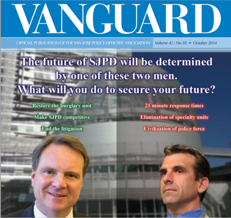 Police magazine cover on mayoral candidates Cortese (left) and Liccardo