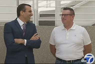 Mayor Liccardo and Paul Kelly, police union president, last week