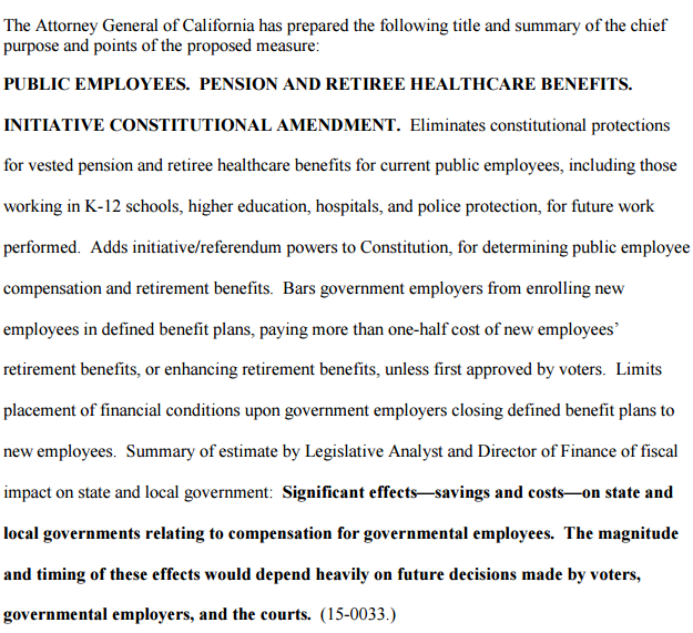 Attorney general's title and summary of proposed pension initiative